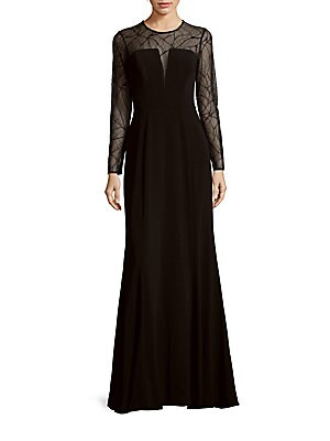 Fit-&-Flare Illusion Gown