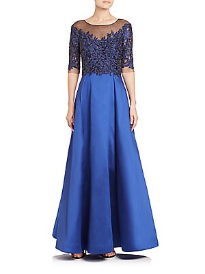 Embellished Lace & Taffeta Gown