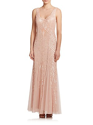 Sequined Godet Bridesmaid Gown