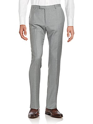 Checkered Wool Straight-Fit Pants
