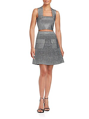 Aaron Metallic Fit & Flare Skirt