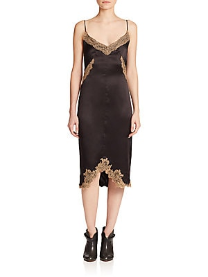 Izabella Lace-Trim Silk Dress