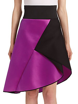 Asymmetrical Satin Contrast Skirt