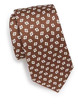 Floral Cotton Blend Tie
