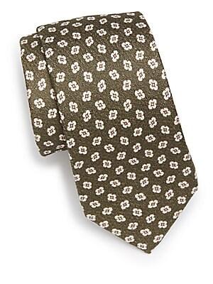 Floral Pattern Cotton Blend Tie