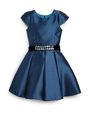 Girl's Cap-Sleeve Swing Dress