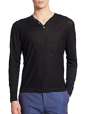 Fine-Gauge Henley Sweater