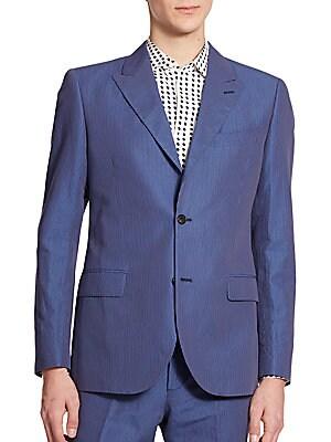 Royal Cotton & Linen Striped Blazer