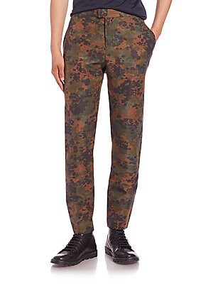 Camouflage Linen & Silk Pants