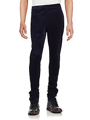Ribbed Solid Cotton Pants