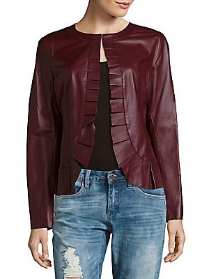 Solid Pleated Leather Jacket
