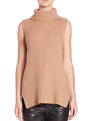 Directional Ribbed Turtleneck Sweater