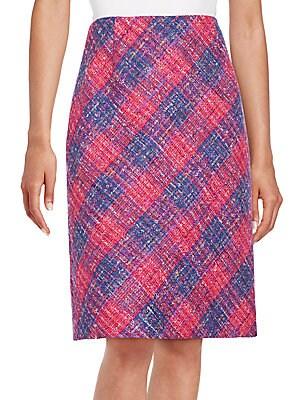 Check Wool-Blend Pencil Skirt