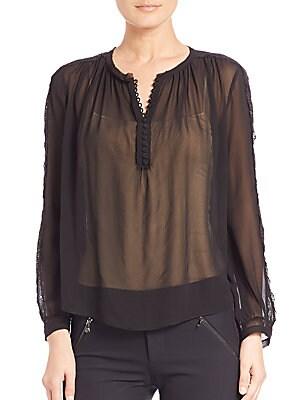 Sheer Lace-Detail Silk Blouse
