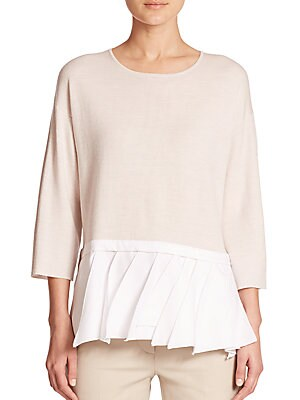 Pleated Peplum Sweater