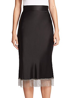 High-Waist Chainmail-Fringe Skirt