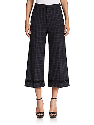 Beaded Worsted Wool Cropped Pants