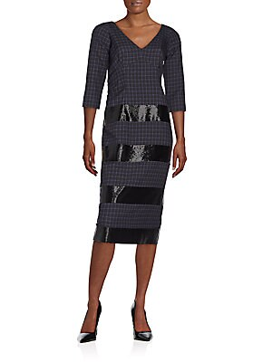 marc jacobs female sequintrim plaid wool dress