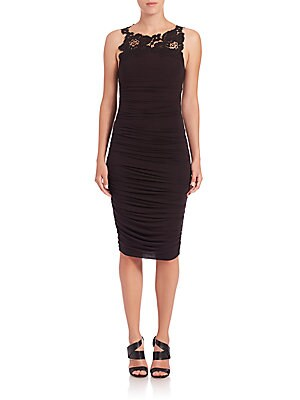 Crawford Ruched Lace-Trim Dress
