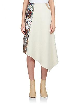 Belinda Patchwork Asymmetrical Midi Skirt