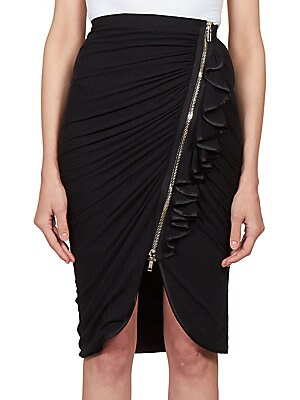 Ruched Jersey Ruffle Skirt