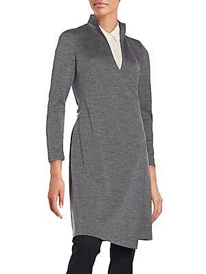 Stand-Collared Wool Jersey Wrap Dress