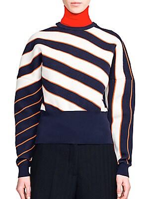 Striped Jacquard Dolman-Sleeve Sweater