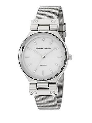 0.01 TCW Diamond Silvertone Bracelet Watch