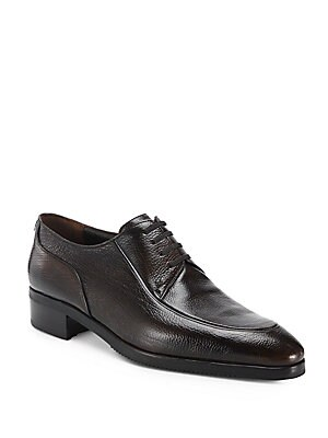 Textured Leather Blucher Shoes