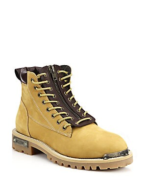 Zip Front Leather Work Boots