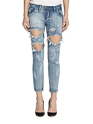Freebirds Ripped Skinny Ankle Jeans