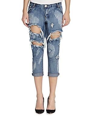 Awesome Baggies Distressed Cropped Boyfriend Jeans