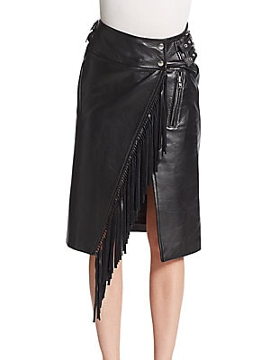 Fringed Leather Moto Skirt