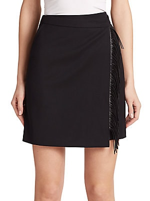 Faux Leather Fringe-Trim Wool Skirt