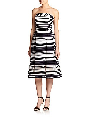 Sheer-Skirt Strapless Striped Dress