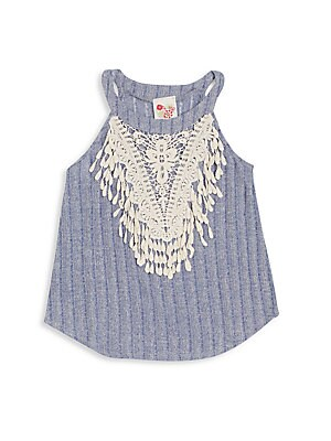 Girl's Rib-Knit Crochet Tank Top