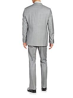 Trim-Fit Melange Wool Suit