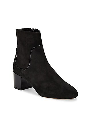 Erin Patent Leather-Trimmed Suede Booties