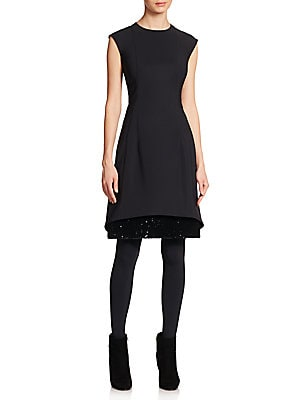 Neoprene Sequin-Hem Dress