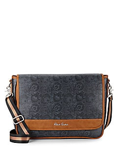 Paisley-Print Faux Leather Messenger Bag