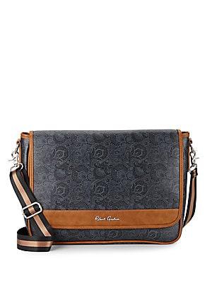Paisley-Print Faux Leather Messenger Bag