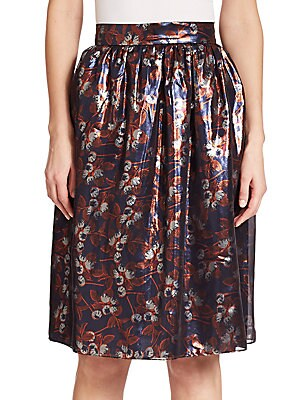 Albany Metallicized Blossom-Print Skirt