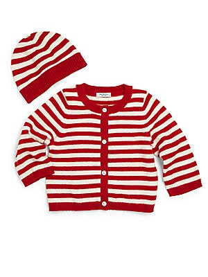 Baby's Two-Piece Striped Cashmere Cardigan & Hat Set