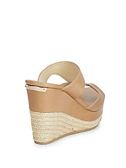Cutout Leather Wedge Slide Sandal