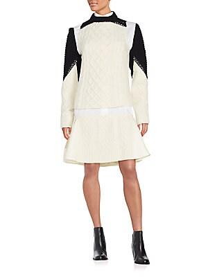 Mixed-Media Sweater Dress