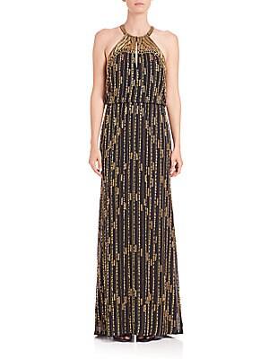 Beaded Marceline Halterneck Gown