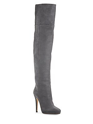 Giselle Lizard-Embossed Leather Over-The-Knee Boots