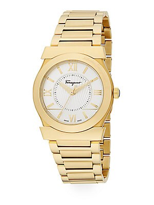 Vega Goldtone Stainless Steel Bracelet Watch