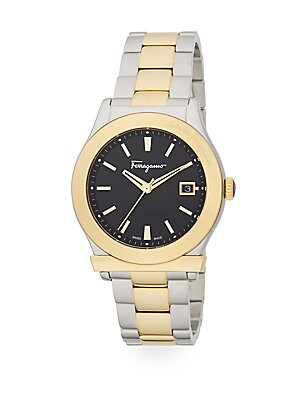 Round Goldtone Stainless Steel Watch