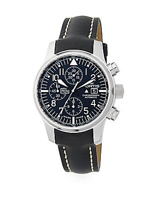 F-43 Stainless Steel & Leather Chronograph Watch